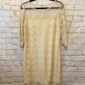 Max and Cleo Beige Lace Dress
